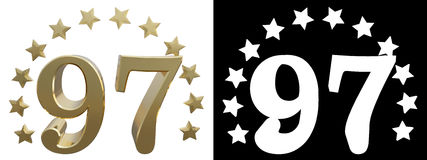 Gold number ninety seven, decorated with a circle of stars. 3D illustration Stock Image