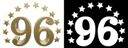 Gold number ninety six, decorated with a circle of stars. 3D illustration Royalty Free Stock Image
