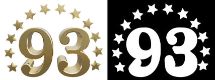 Gold number ninety three, decorated with a circle of stars. 3D illustration Royalty Free Stock Image