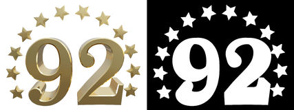Gold number ninety two, decorated with a circle of stars. 3D illustration Royalty Free Stock Image