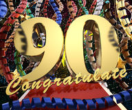 Gold number ninety with the words congratulations on a background of colorful ribbons and salute. 3D illustration.  Stock Images
