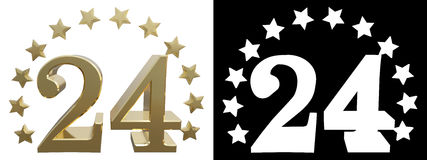 Gold number one, decorated with a circle of stars. 3D illustration.  Vector Illustration