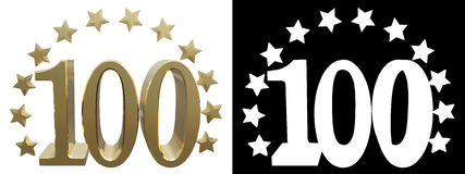 Gold number one hundred, decorated with a circle of stars. 3D illustration Stock Image