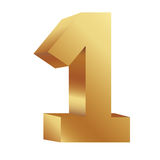 Gold number one icon. Illustraction design image Royalty Free Stock Image