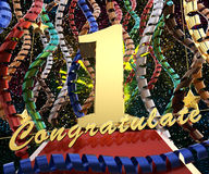 Gold number one with the words congratulations on a background of colorful ribbons and salute. 3D illustration.  Royalty Free Stock Photo