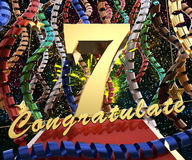 Gold number seven with the words congratulations on a background of colorful ribbons and salute. 3D illustration.  Royalty Free Stock Photo