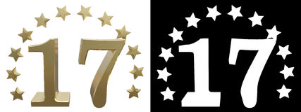 Gold number seventeen, decorated with a circle of stars. 3D illustration Stock Photos