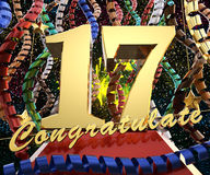 Gold number seventeen with the word congratulate on a background of colorful ribbons and salute. 3D illustration.  Royalty Free Stock Images