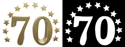 Gold number seventy, decorated with a circle of stars. 3D illustration.  Royalty Free Stock Photography