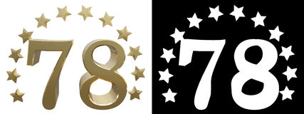 Gold number seventy eight, decorated with a circle of stars. 3D illustration Stock Images