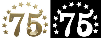 Gold number seventy five, decorated with a circle of stars. 3D illustration Royalty Free Stock Image