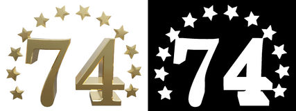 Gold number seventy four, decorated with a circle of stars. 3D illustration Stock Images