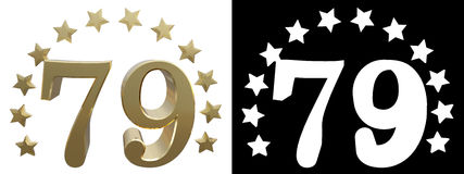 Gold number seventy nine, decorated with a circle of stars. 3D illustration.  Royalty Free Stock Photography