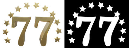 Gold number seventy seven, decorated with a circle of stars. 3D illustration Stock Photography