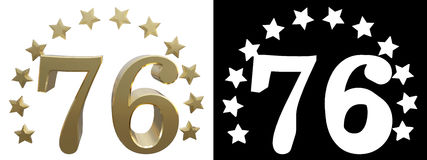 Gold number seventy six, decorated with a circle of stars. 3D illustration.  Royalty Free Stock Images
