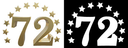 Gold number seventy two, decorated with a circle of stars. 3D illustration Royalty Free Stock Image