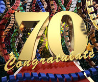 Gold number seventy with the words congratulations on a background of colorful ribbons and salute. 3D illustration.  Royalty Free Stock Photos