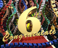 Gold number six with the words congratulations on a background of colorful ribbons and salute. 3D illustration.  Stock Photography