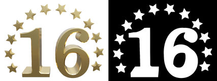 Gold number sixteen, decorated with a circle of stars. 3D illustration Stock Photos