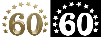 Gold number sixty, decorated with a circle of stars. 3D illustration.  Royalty Free Stock Photography