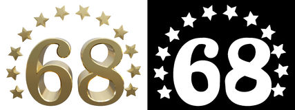 Gold number sixty eight, decorated with a circle of stars. 3D illustration Royalty Free Stock Photo