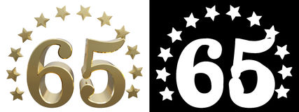 Gold number sixty five, decorated with a circle of stars. 3D illustration.  Royalty Free Stock Images