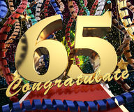 Gold number sixty five with the word congratulate on a background of colorful ribbons and salute. 3D illustration.  Royalty Free Stock Photography