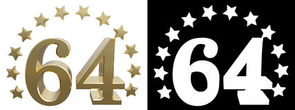 Gold number sixty four, decorated with a circle of stars. 3D illustration Stock Image