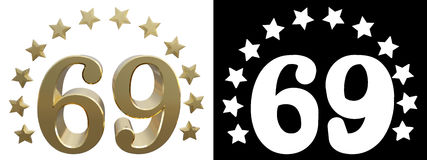 Gold number sixty nine, decorated with a circle of stars. 3D illustration Royalty Free Stock Image