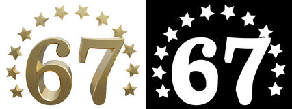 Gold number sixty seven, decorated with a circle of stars. 3D illustration Stock Photos