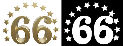 Gold number sixty six, decorated with a circle of stars. 3D illustration Stock Image