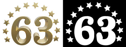 Gold number sixty three, decorated with a circle of stars. 3D illustration Stock Images