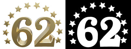 Gold number sixty two, decorated with a circle of stars. 3D illustration Stock Photo