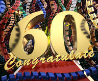 Gold number sixty with the words congratulations on a background of colorful ribbons and salute. 3D illustration.  Stock Photography