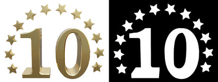 Gold number ten, decorated with a circle of stars. 3D illustration.  Royalty Free Stock Photos
