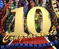 Gold number ten with the words congratulations on a background of colorful ribbons and salute. 3D illustration.  Royalty Free Stock Photography