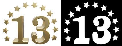 Gold number thirteen, decorated with a circle of stars. 3D illustration Stock Photos