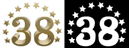 Gold number thirty eight, decorated with a circle of stars. 3D illustration Royalty Free Stock Photography