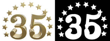 Gold number thirty five, decorated with a circle of stars. 3D illustration Stock Photos
