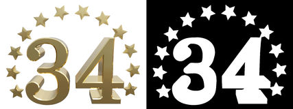 Gold number thirty four, decorated with a circle of stars. 3D illustration.  Royalty Free Stock Photos