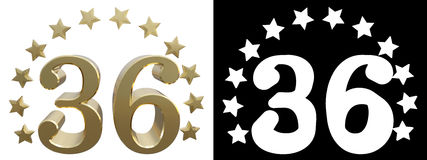 Gold number thirty six, decorated with a circle of stars. 3D illustration Stock Photos