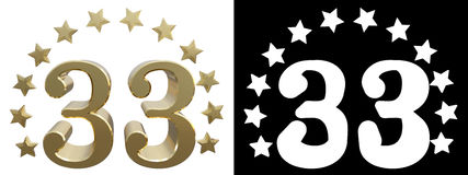 Gold number thirty three, decorated with a circle of stars. 3D illustration vector illustration
