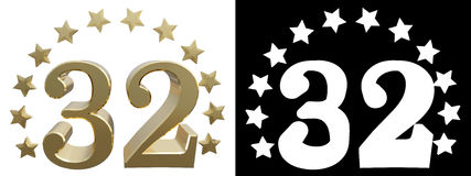 Gold number thirty two, decorated with a circle of stars. 3D illustration Stock Photos