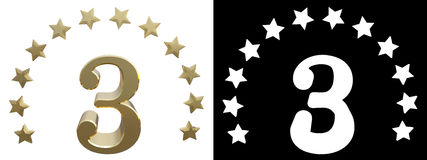 Gold number three, decorated with a circle of stars. 3D illustration.  vector illustration