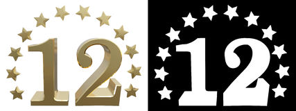 Gold number twelve, decorated with a circle of stars. 3D illustration Royalty Free Stock Photography