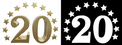 Gold number twenty, decorated with a circle of stars. 3D illustration.  Royalty Free Stock Photos