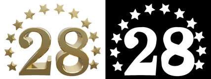 Gold number twenty eight, decorated with a circle of stars. 3D illustration Stock Photography