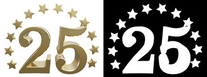 Gold number twenty five, decorated with a circle of stars. 3D illustration Stock Images