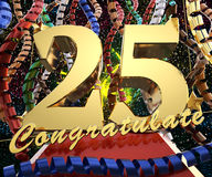 Gold number twenty five with the word congratulate on a background of colorful ribbons and salute. 3D illustration.  Stock Photography