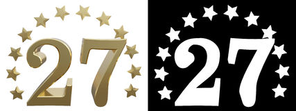 Gold number twenty seven, decorated with a circle of stars. 3D illustration.  Royalty Free Stock Images